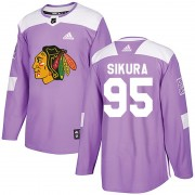 Adidas Chicago Blackhawks 95 Dylan Sikura Authentic Purple Fights Cancer Practice Men's NHL Jersey