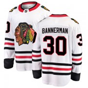 Fanatics Branded Chicago Blackhawks 30 Murray Bannerman White Breakaway Away Youth NHL Jersey
