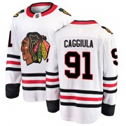 Fanatics Branded Chicago Blackhawks 91 Drake Caggiula White Breakaway Away Youth NHL Jersey