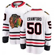 Fanatics Branded Chicago Blackhawks 50 Corey Crawford White Breakaway Away Youth NHL Jersey