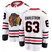 Fanatics Branded Chicago Blackhawks 63 Carl Dahlstrom White Breakaway Away Youth NHL Jersey