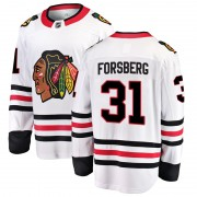 Fanatics Branded Chicago Blackhawks 31 Anton Forsberg White Breakaway Away Youth NHL Jersey
