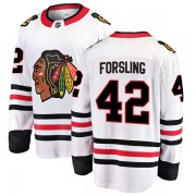 Fanatics Branded Chicago Blackhawks 42 Gustav Forsling White Breakaway Away Youth NHL Jersey