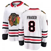 Fanatics Branded Chicago Blackhawks 8 Curt Fraser White Breakaway Away Youth NHL Jersey