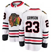 Fanatics Branded Chicago Blackhawks 23 Stu Grimson White Breakaway Away Youth NHL Jersey