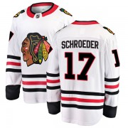 Fanatics Branded Chicago Blackhawks 17 Jordan Schroeder White Breakaway Away Youth NHL Jersey