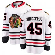Fanatics Branded Chicago Blackhawks 45 Luc Snuggerud White Breakaway Away Youth NHL Jersey