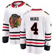 Fanatics Branded Chicago Blackhawks 4 Elmer Vasko White Breakaway Away Youth NHL Jersey