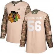 Adidas Chicago Blackhawks 56 Erik Gustafsson Authentic Camo Veterans Day Practice Men's NHL Jersey