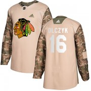 Adidas Chicago Blackhawks 16 Ed Olczyk Authentic Camo Veterans Day Practice Men's NHL Jersey