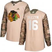 Adidas Chicago Blackhawks 16 Ed Olczyk Authentic Camo Veterans Day Practice Men's NHL Jersey