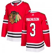 Adidas Chicago Blackhawks 3 Keith Magnuson Authentic Red Men's NHL Jersey