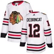 Adidas Chicago Blackhawks 12 Alex DeBrincat Authentic White Away Women's NHL Jersey
