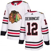 Adidas Chicago Blackhawks 12 Alex DeBrincat Authentic White Away Youth NHL Jersey
