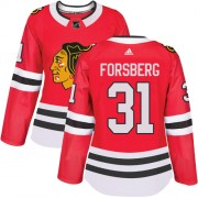 Adidas Chicago Blackhawks 31 Anton Forsberg Authentic Red Home Women's NHL Jersey