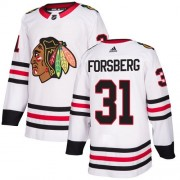 Adidas Chicago Blackhawks 31 Anton Forsberg Authentic White Away Women's NHL Jersey