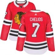 Adidas Chicago Blackhawks 7 Chris Chelios Authentic Red Home Women's NHL Jersey
