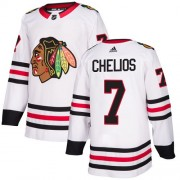 Adidas Chicago Blackhawks 7 Chris Chelios Authentic White Away Youth NHL Jersey