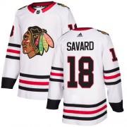 Adidas Chicago Blackhawks 18 Denis Savard Authentic White Away Women's NHL Jersey