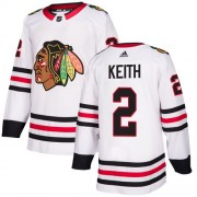Adidas Chicago Blackhawks 2 Duncan Keith Authentic White Away Women's NHL Jersey