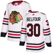 Adidas Chicago Blackhawks 30 ED Belfour Authentic White Away Youth NHL Jersey