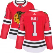 Adidas Chicago Blackhawks 1 Glenn Hall Authentic Red Home Women's NHL Jersey