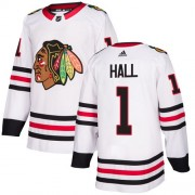 Adidas Chicago Blackhawks 1 Glenn Hall Authentic White Away Women's NHL Jersey
