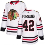 Adidas Chicago Blackhawks 42 Gustav Forsling Authentic White Away Women's NHL Jersey