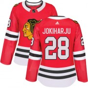 Adidas Chicago Blackhawks 28 Henri Jokiharju Authentic Red Home Women's NHL Jersey