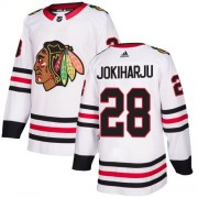 Adidas Chicago Blackhawks 28 Henri Jokiharju Authentic White Away Women's NHL Jersey