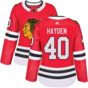 Adidas Chicago Blackhawks 40 John Hayden Authentic Red Home Women's NHL Jersey