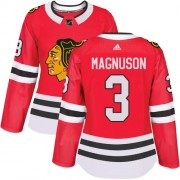 Adidas Chicago Blackhawks 3 Keith Magnuson Authentic Red Home Women's NHL Jersey