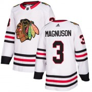 Adidas Chicago Blackhawks 3 Keith Magnuson Authentic White Away Women's NHL Jersey