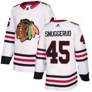 Adidas Chicago Blackhawks 45 Luc Snuggerud Authentic White Away Women's NHL Jersey