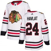 Adidas Chicago Blackhawks 24 Martin Havlat Authentic White Away Women's NHL Jersey