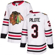 Adidas Chicago Blackhawks 3 Pierre Pilote Authentic White Away Women's NHL Jersey