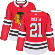 Adidas Chicago Blackhawks 21 Stan Mikita Authentic Red Home Women's NHL Jersey