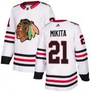 Adidas Chicago Blackhawks 21 Stan Mikita Authentic White Away Women's NHL Jersey