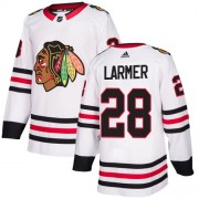 Adidas Chicago Blackhawks 28 Steve Larmer Authentic White Away Women's NHL Jersey