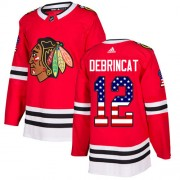 Adidas Chicago Blackhawks 12 Alex DeBrincat Authentic Red USA Flag Fashion Men's NHL Jersey