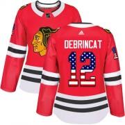 Adidas Chicago Blackhawks 12 Alex DeBrincat Authentic Red USA Flag Fashion Women's NHL Jersey