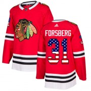 Adidas Chicago Blackhawks 31 Anton Forsberg Authentic Red USA Flag Fashion Men's NHL Jersey