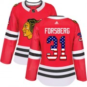 Adidas Chicago Blackhawks 31 Anton Forsberg Authentic Red USA Flag Fashion Women's NHL Jersey