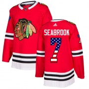Adidas Chicago Blackhawks 7 Brent Seabrook Authentic Red USA Flag Fashion Youth NHL Jersey