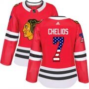 Adidas Chicago Blackhawks 7 Chris Chelios Authentic Red USA Flag Fashion Women's NHL Jersey