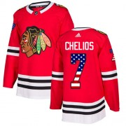 Adidas Chicago Blackhawks 7 Chris Chelios Authentic Red USA Flag Fashion Youth NHL Jersey