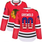 Adidas Chicago Blackhawks 00 Clark Griswold Authentic Red USA Flag Fashion Women's NHL Jersey