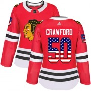 Adidas Chicago Blackhawks 50 Corey Crawford Authentic Red USA Flag Fashion Women's NHL Jersey