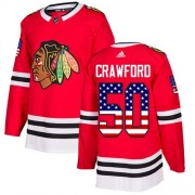 Adidas Chicago Blackhawks 50 Corey Crawford Authentic Red USA Flag Fashion Youth NHL Jersey