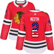Adidas Chicago Blackhawks 2 Duncan Keith Authentic Red USA Flag Fashion Women's NHL Jersey